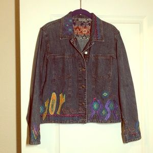 Chico's Embroidered Denim Jacket, NWOT